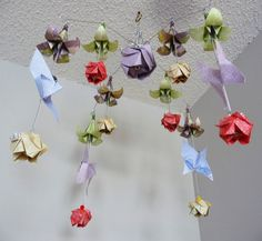 Baby Girl Baby Mobile - Flower Mobile - Butterfly Mobile - Rose Mobile - Origami Mobile - Nursery Mobile - Decorative Mobile - Nursery Decor by StellarOrigami on Etsy