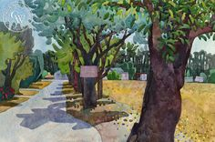 Private Road, 1998, California art by Carolyn Lord. HD giclee art prints for sale at CaliforniaWatercolor.com - original California paintings, & premium giclee prints for sale
