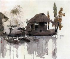 Chinese painting. Village