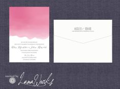 Pink Dipped Ombre Watercolor Wedding Invitation  by LamaWorks