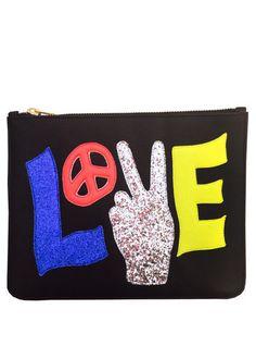 Black Peace Love Clutch