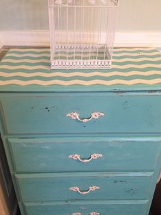chevron chest of drawers turquoise teal cream chevron furniture distressed