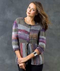 Love this neckline...anyone have a crochet pattern like this?  Magical Stripes Cardi/Knit