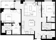 two bedroom, 1149 square feet, floors 7-11, PH1 & PH2