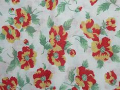 Vintage Feedsack Fabric ~ This cotton piece measures approx x ~ Good vintage condition with fraying at the edges L Retro Fabric, Vintage Fabrics, Vintage Sewing Patterns, Flour Sacks, Feed Sacks, Women's History, Orange Yellow, Baby Quilts, A Table