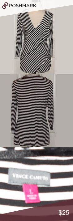 "Vince Camuto Striped Top Women's size Large. Vince Camuto Striped Top. Women's size Large. 95% Rayon, 5% Spandex. Measures: 21"" pit to pit and 28"" in length. Vince Camuto Tops Blouses"