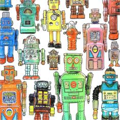 Toy Robots  - Drawing by my friend, artist Steve McDonald.  Can be found in his colouring book, Fantastic Collections.