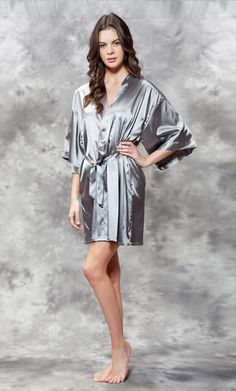 Premium Bathrobes    Satin Robes    Satin Kimono Classic Gray Short Robe -  Wholesale 35dcf0fce
