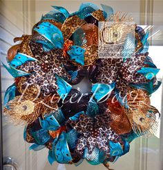 Peacock and Leopard Fall deco mesh Wreath