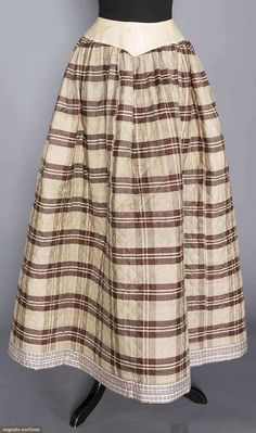 Quilted winter petticoat - attached to a plain waistband for easier fastening, made with 2 different fabrics. Clothing And Textile, Antique Clothing, Historical Clothing, Historical Costume, Vintage Style Dresses, Vintage Outfits, Edwardian Fashion, Vintage Fashion, Feminine Style