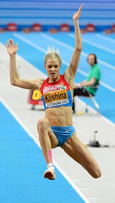 Russia's Darya Klishina competes during the women's Long Jump final at the European Indoor Championships in Gothenburg Sweden on March 2 2013 AFP. Long Jump, High Jump, Jumping Poses, Darya Klishina, Foto Sport, Athletic Center, Triple Jump, World Athletics, Beautiful Athletes