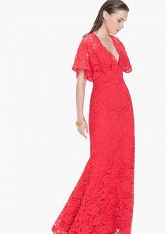 Vestido largo rojo de blonda- Tienda Online Oficial