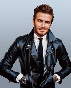 David Beckham Leather Jacket Motorcycle Style - So Black Leather Biker Jacket, Leather Jacket Outfits, Leather Men, Lambskin Leather, Mens Biker Jacket, Biker Jackets, Men's Jackets, Custom Leather, Riders Jacket
