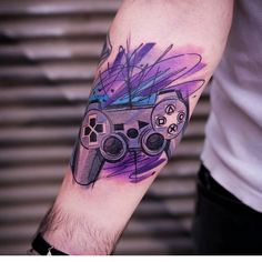 """4,443 Likes, 22 Comments - 1st Official Game Tattoo Page (@videogametatts) on Instagram: """"Beautiful #playstation controller tattoo by @tat2szabi Thanks Szabi! =D"""""""
