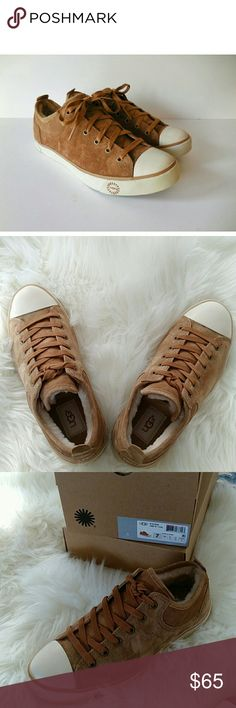 NWT UGG Chestnut Sneakers, size  7 Genuine shearling lines the tongue and heel of a rubber-soled sneaker outfitted with a super-cushy footbed for added comfort. UGG Shoes Sneakers