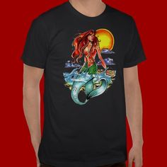 Shop mermaid T-Shirt created by Personalize it with photos & text or purchase as is! Tattoo T Shirts, Tee Shirts, Tees, Mermaid, Mens Tops, Shopping, Fashion, Moda, T Shirts