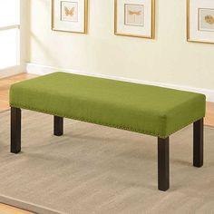 U.S. Pride Furniture Alma Nail Trim Decorative Bench Green - BC-1007