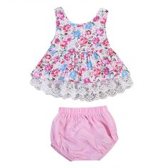 >> Click to Buy << 2PCS Newborn Baby Clothes Set 2017 Summer Floral Tutu Lace Patchwrok Sleeveless Crop Tops Shorts Baby Briefs Outfits Children  #Affiliate