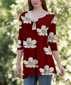 Love this Red & White Floral Pin Tuck Tassel-Tie Tunic - Plus on #zulily! #zulilyfinds