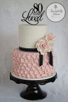 Black white and pink 80th Birthday cake