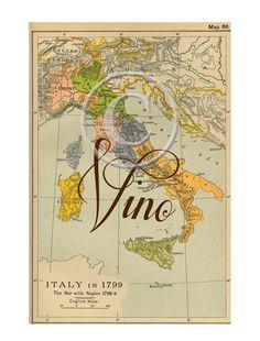 Printable Vintage Italian Wine Collage Vintage by No9designhouse, $4.90