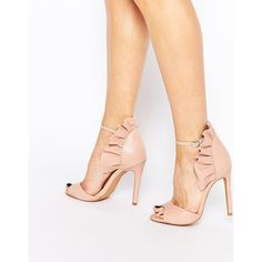 Forever Unique Camden Leather Heeled Sandals (€115) ❤ liked on Polyvore featuring shoes, sandals, nude, nude shoes, leather heeled sandals and nude sandals