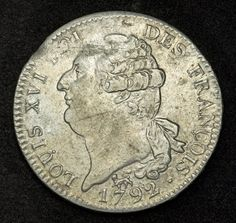 Coins of France - Ecu of 6 Livres Silver Coin of 1792 (Year 5 of the Revolution), first French Republic King Louis XVI. French coins, collection French coins, Coins of Europe, French Coinages, French Revolution Money and Coins, European Coins, Collecting the Coins of France.