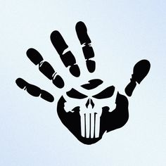 Hand Print Punisher Skull Vinyl Decal Sticker by StickThemAll