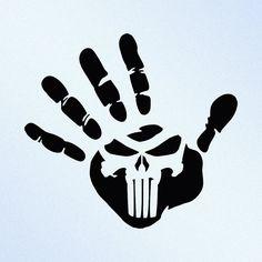Hand Print Punisher Skull Vinyl Decal Sticker by StickThemAll
