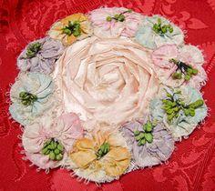 Large Vintage Silk & Ombre Ribbon Rosette Flower Ribbonwork Applique ~ 1920s