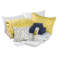 How pretty is this yellow metro dorm bedding bundle? It comes with everything you need to complete your yellow themed dorm room! Check out all of our options at amdorm.com!