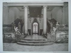 Palace of Charles Beyerle, Esq., Grand Staircase, Cairo, Egypt 1910, Lithograph. Mr. Carlo Prampolini.