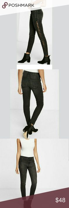 Express Hgh Waisted Lace Up side ankle leggings These jeans are Everything! Sexy and sleek Express Jeans