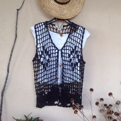 SALE  BOHO hand-crocheted vest   NWT  100% cotton, this looks great over a cropped top and short shorts!  Make an offer!  Tops