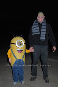 Coolest Homemade Despicable Me Minion Costume - Barrie and Oliver this Halloween perhaps?