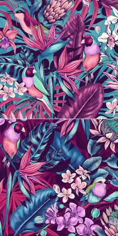 A wild tropical pattern created digitally in full color for a sports fashion brand. A wild tropical pattern created digitally in full color for a sports fashion brand. Vintage Wallpaper, Zebra Wallpaper, Wallpaper Free, Pattern Wallpaper, Design Tropical, Motif Tropical, Tropical Pattern, Tropical Flowers, Textures Patterns
