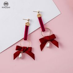 2017 New Winter Style Sweety Ribbon Bowknot Long Earrings For Girl Brinco Water Drop Shape Simulated Pearl Pendientes Gift