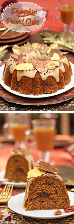 This Cinnamon Swirl Pumpkin Pound Cake is the ultimate fall dessert! Moist and flavorful, it has a rich cinnamon swirl, a delicious brown sugar frosting, and gorgeous chocolate leaves! Fall Desserts, Just Desserts, Delicious Desserts, Healthy Desserts, Dessert Cake Recipes, Pound Cake Recipes, Pound Cakes, Pumpkin Pound Cake, Mantecaditos