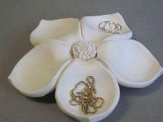 Ceramic Flower Bloom jewelry holder, floral sculpture , ceramic flower art