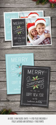 Christmas Photo Cards — Photoshop PSD #wishes #postcard • Available here → https://graphicriver.net/item/christmas-photo-cards/9487812?ref=pxcr