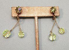 Vintage Yellow Aurora Borealis Crystal Dangle Earrings Clip