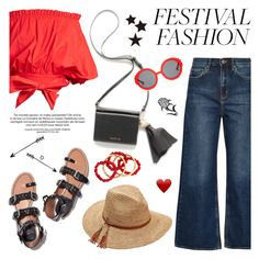 """Good Vibes Only: Festival Fashion"" by helenevlacho ❤ liked on Polyvore featuring M.i.h Jeans, Saloni, Preen, Scala, NEST Jewelry, contestentry and festivalfashion"