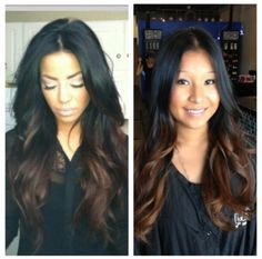 Black to brown hair