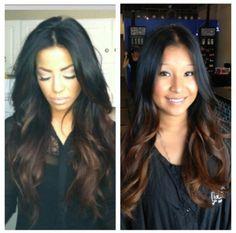 Black to brown hair