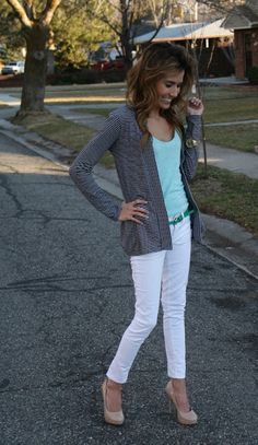 White pants; spring teaching outfit