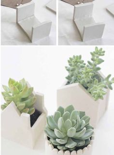 Make modern succulent pots out of air dry clay!
