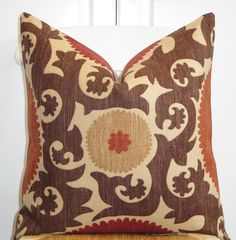 Beautiful Decorative Pillow Cover - 20x20 - Suzani Pattern - Throw Pillow - Accent Pillow - Brown - Dark Red - Rust. $46.00, via Etsy.