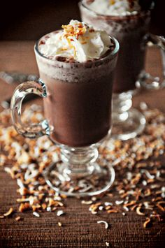 Toasted Coconut Mocha Frappe - I would make with regular, strong non-flavored coffee.  If this tastes anything like a  Starbucks Coconut Mocha Frappaccino, I am going to be a happy girl...