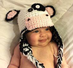 PATTERN  Moo Baby Crochet Hat by uneekforu on Etsy, $3.50