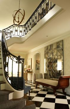 Antiqued Mirror Kitchen Design, Pictures, Remodel, Decor and Ideas - page wrought iron staircase Foyer Staircase, Iron Staircase, Entry Hallway, Staircase Design, Foyer Design, Black Staircase, Hallway Mirror, Entryway Stairs, Entry Bench